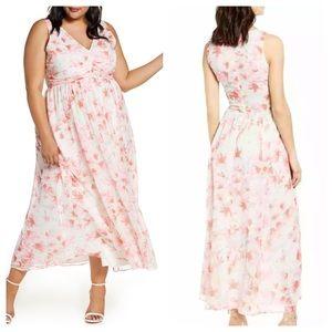 Leith Plus Size Ruched Waist Chiffon Maxi Dress